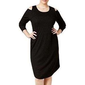 Rachel Roy Black Ribbed-Knit Cold-Shoulder Dress